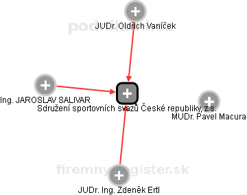 Sdružení sportovních svazů České republiky, z.s. - náhled vizuálního zobrazení vztahů obchodního rejstříku