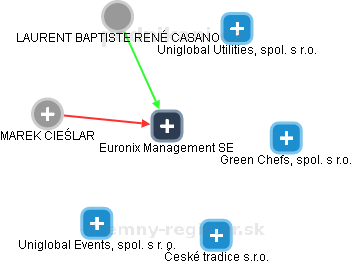 Euronix Management SE - obrázek vizuálního zobrazení vztahů obchodního rejstříku