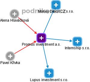Promus investment a.s. - náhled vizuálního zobrazení vztahů obchodního rejstříku