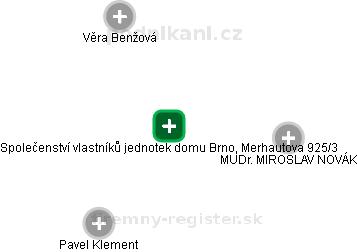 Společenství vlastníků jednotek domu Brno, Merhautova 925/3 - náhled vizuálního zobrazení vztahů obchodního rejstříku