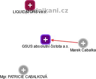 GSUS absolutní čistota a.s. - náhled vizuálního zobrazení vztahů obchodního rejstříku