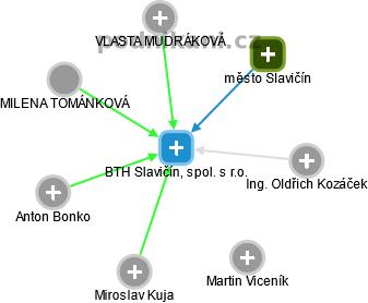 BTH Slavičín, spol. s r.o. - náhled vizuálního zobrazení vztahů obchodního rejstříku