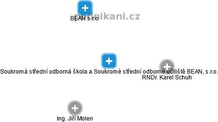 Soukromá střední odborná škola a Soukromé střední odborné učiliště BEAN, s.r.o. - náhled vizuálního zobrazení vztahů obchodního rejstříku