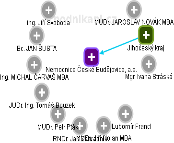Nemocnice České Budějovice, a.s. - náhled vizuálního zobrazení vztahů obchodního rejstříku