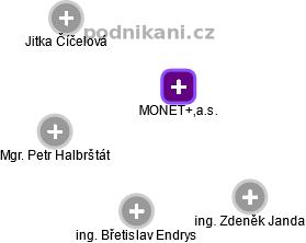 MONET+,a.s. - náhled vizuálního zobrazení vztahů obchodního rejstříku