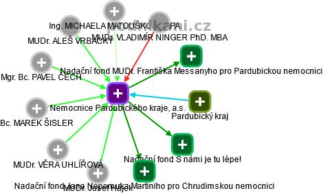 Nemocnice Pardubického kraje, a.s. - náhled vizuálního zobrazení vztahů obchodního rejstříku