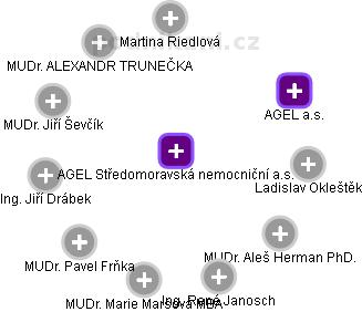 Středomoravská nemocniční a.s. - náhled vizuálního zobrazení vztahů obchodního rejstříku