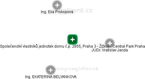Společenství vlastníků jednotek domu č.p. 2855, Praha 3 - Žižkov - Central Park Praha - náhled vizuálního zobrazení vztahů obchodního rejstříku