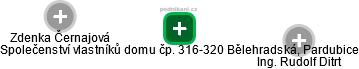 Společenství vlastníků domu čp. 316-320 Bělehradská, Pardubice - náhled vizuálního zobrazení vztahů obchodního rejstříku