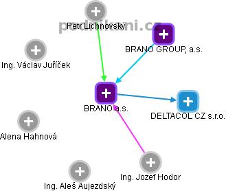 BRANO a.s. - náhled vizuálního zobrazení vztahů obchodního rejstříku