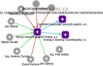 Burza cenných papírů Praha, a.s. - náhled vizuálního zobrazení vztahů obchodního rejstříku