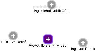 A-GRAND a.s. v likvidaci - náhled vizuálního zobrazení vztahů obchodního rejstříku
